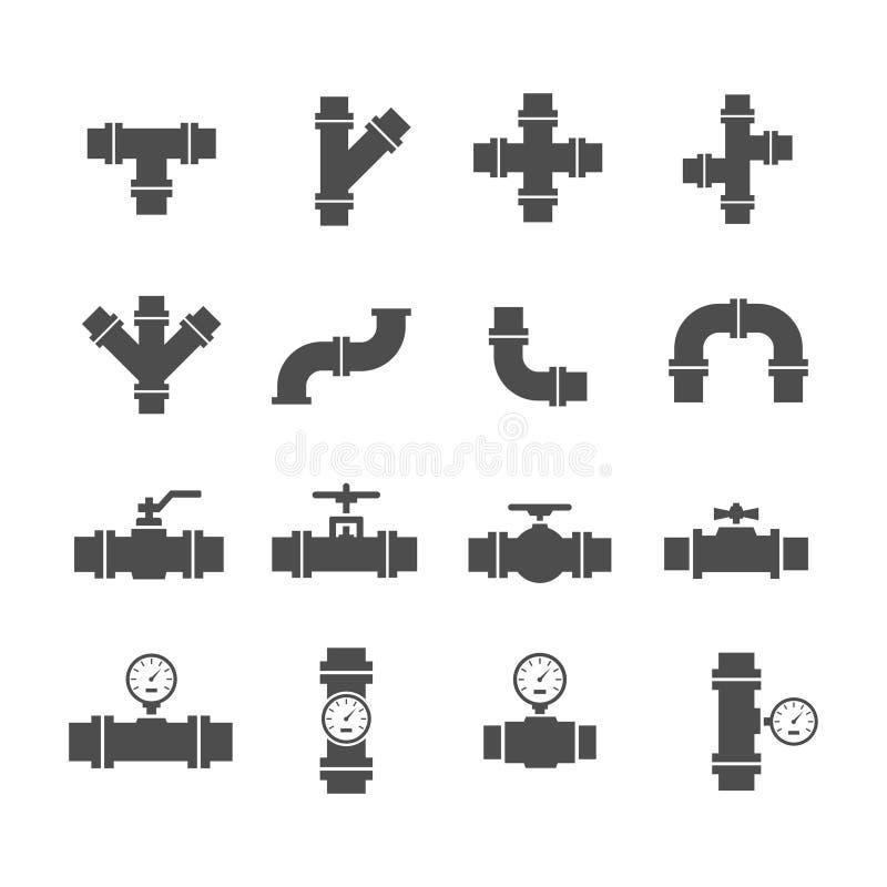 De vectordelen van de pictogram vastgestelde pijp stock illustratie