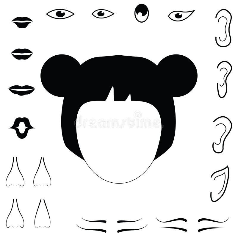 De vectordelen van het vrouwengezicht mond, haar, royalty-vrije illustratie