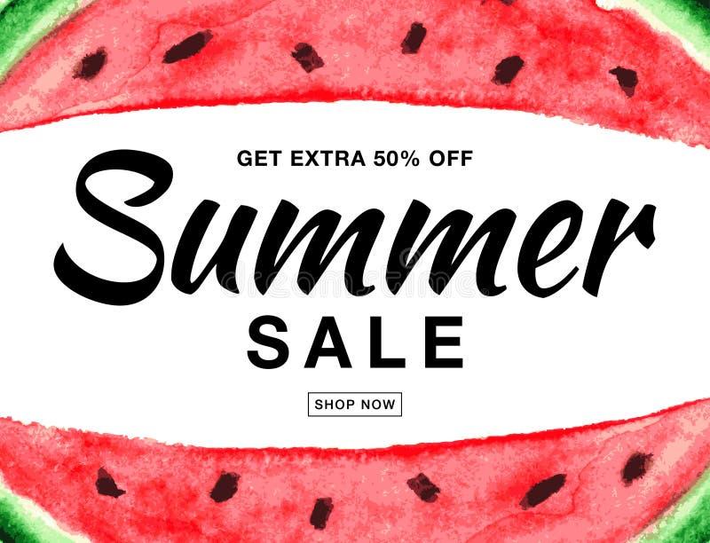 De vectordiebanner van de de zomerverkoop met waterverfwatermeloen op witte achtergrond wordt geïsoleerd vector illustratie