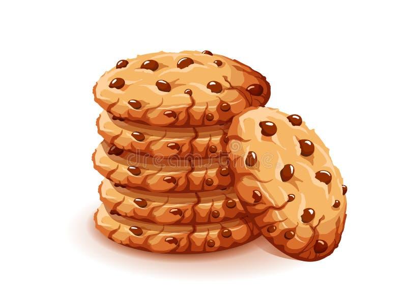 De vectordiechocolade verkruimelt spaanders op witte achtergrond worden geïsoleerd Realistische eigengemaakte de koekjes vectoril royalty-vrije illustratie