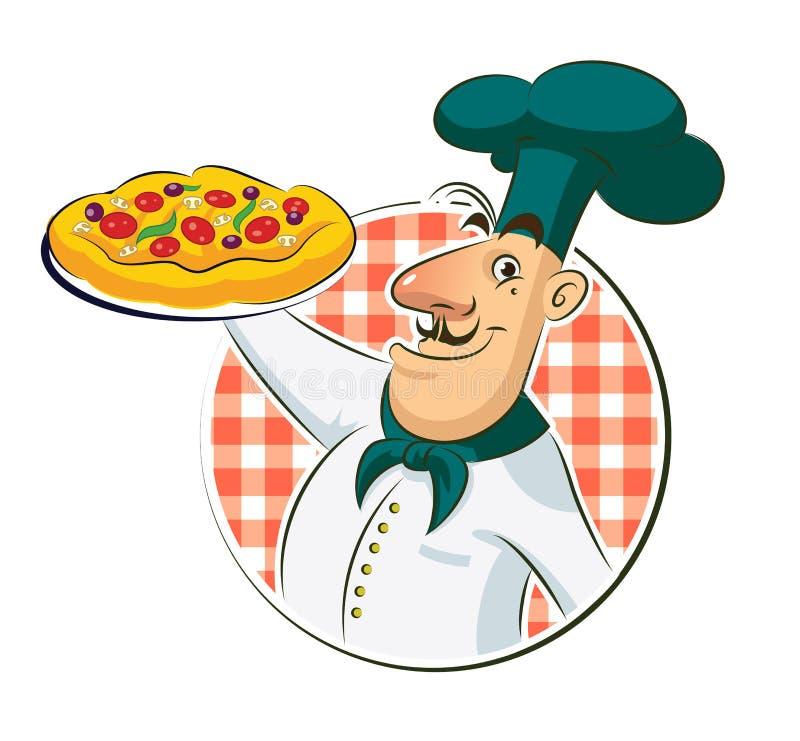 De pizza van de kok royalty-vrije illustratie