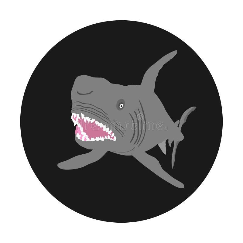 De vectordieillustratie van de haaiaanval op zwarte achtergrond wordt geïsoleerd Open kaken van dier royalty-vrije illustratie