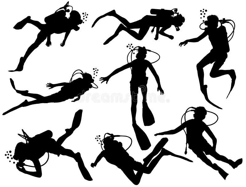 De vectordieillustratie van het vrij duikensilhouet op witte achtergrond wordt geïsoleerd stock illustratie