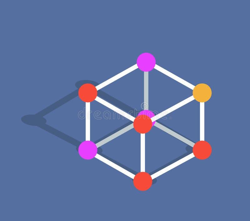 De VectordieIllustratie van de moleculewijze op Blauw wordt geïsoleerd vector illustratie