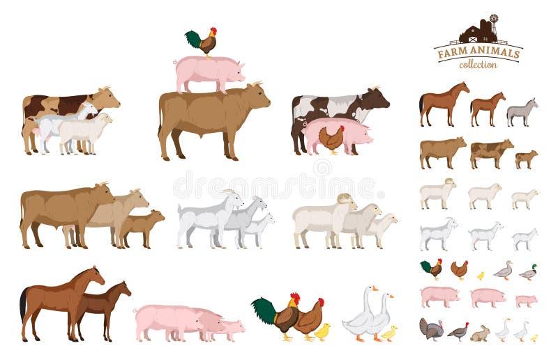 De vectordieinzameling van landbouwbedrijfdieren op wit wordt geïsoleerd vector illustratie