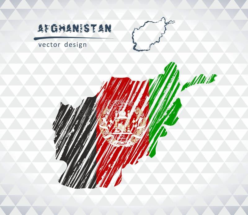 De vectordiekaart van Afghanistan met vlagbinnenkant op een witte achtergrond wordt geïsoleerd De getrokken illustratie van het s stock illustratie