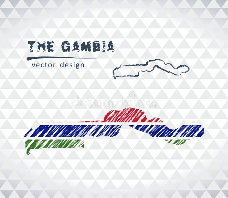 De vectordiekaart van Gambia met vlagbinnenkant op een witte achtergrond wordt geïsoleerd De getrokken illustratie van het schets vector illustratie