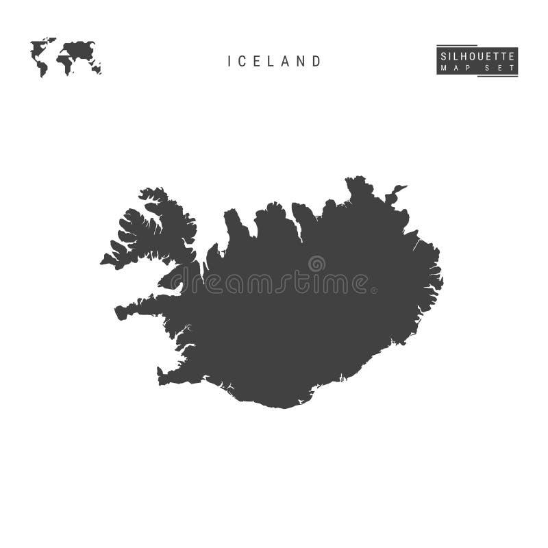 De VectordieKaart van IJsland op Witte Achtergrond wordt geïsoleerd Hoog-High-Detailed Zwarte Silhouetkaart van IJsland stock illustratie