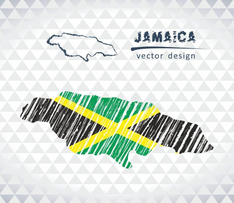 De vectordiekaart van Jamaïca met vlagbinnenkant op een witte achtergrond wordt geïsoleerd De getrokken illustratie van het schet stock illustratie