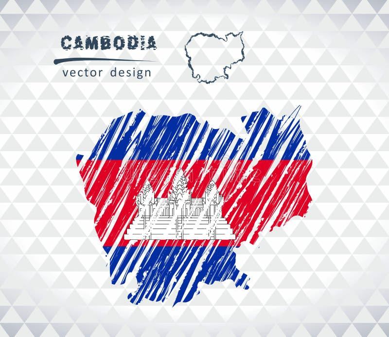 De vectordiekaart van Kambodja met vlagbinnenkant op een witte achtergrond wordt geïsoleerd De getrokken illustratie van het sche vector illustratie