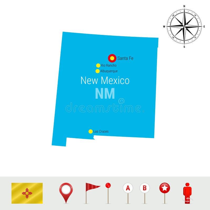 De VectordieKaart van New Mexico op Witte Achtergrond wordt geïsoleerd Gedetailleerd Silhouet van de Staat van New Mexico Officië royalty-vrije illustratie
