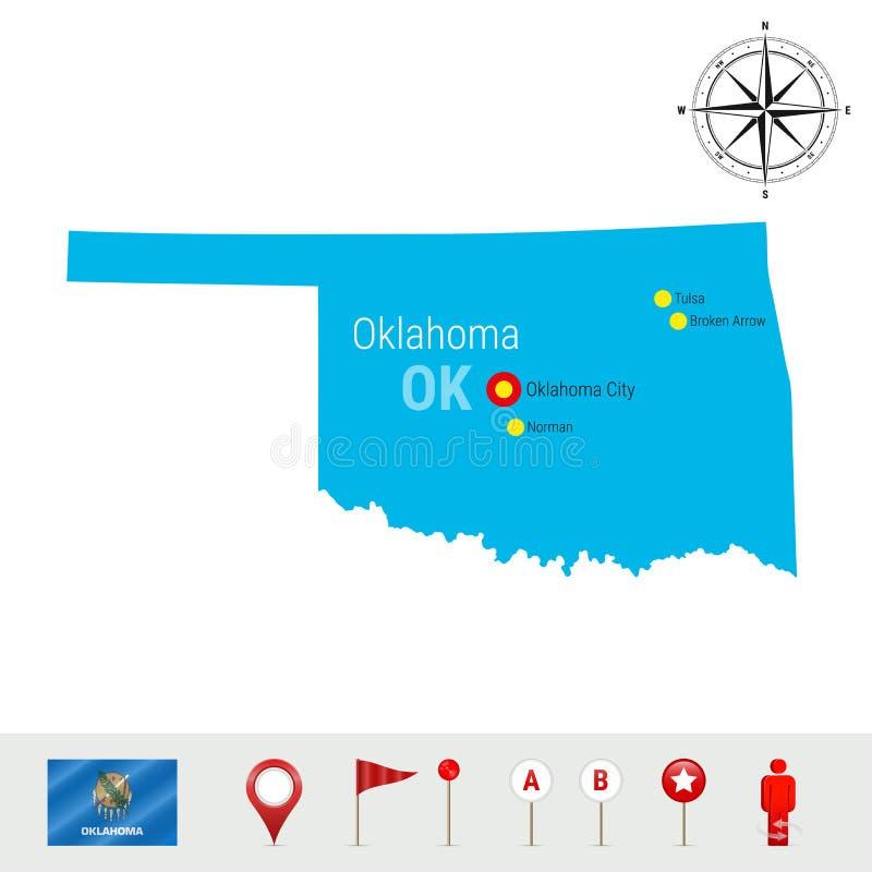 De VectordieKaart van Oklahoma op Witte Achtergrond wordt geïsoleerd Hoog Gedetailleerd Silhouet van de Staat van Oklahoma Offici vector illustratie