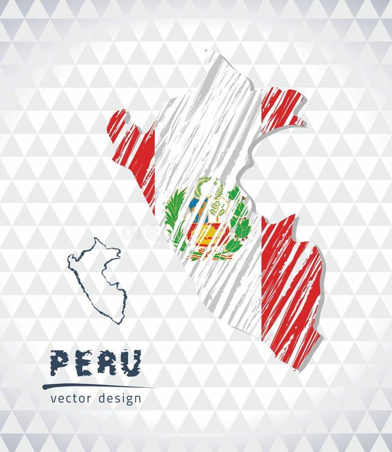 De vectordiekaart van Peru met vlagbinnenkant op een witte achtergrond wordt geïsoleerd De getrokken illustratie van het schetskr royalty-vrije illustratie