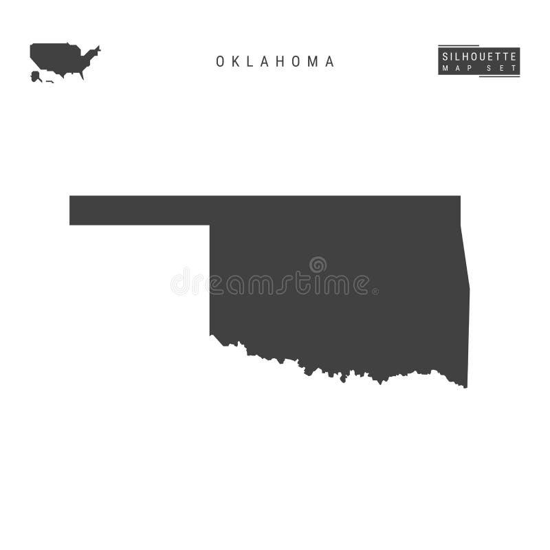 De VectordieKaart van de Staat van Oklahoma de V.S. op Witte Achtergrond wordt geïsoleerd Hoog-High-Detailed Zwarte Silhouetkaart vector illustratie