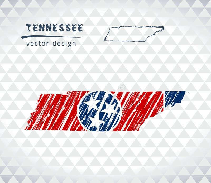 De vectordiekaart van Tennessee met vlagbinnenkant op een witte achtergrond wordt geïsoleerd De getrokken illustratie van het sch royalty-vrije illustratie