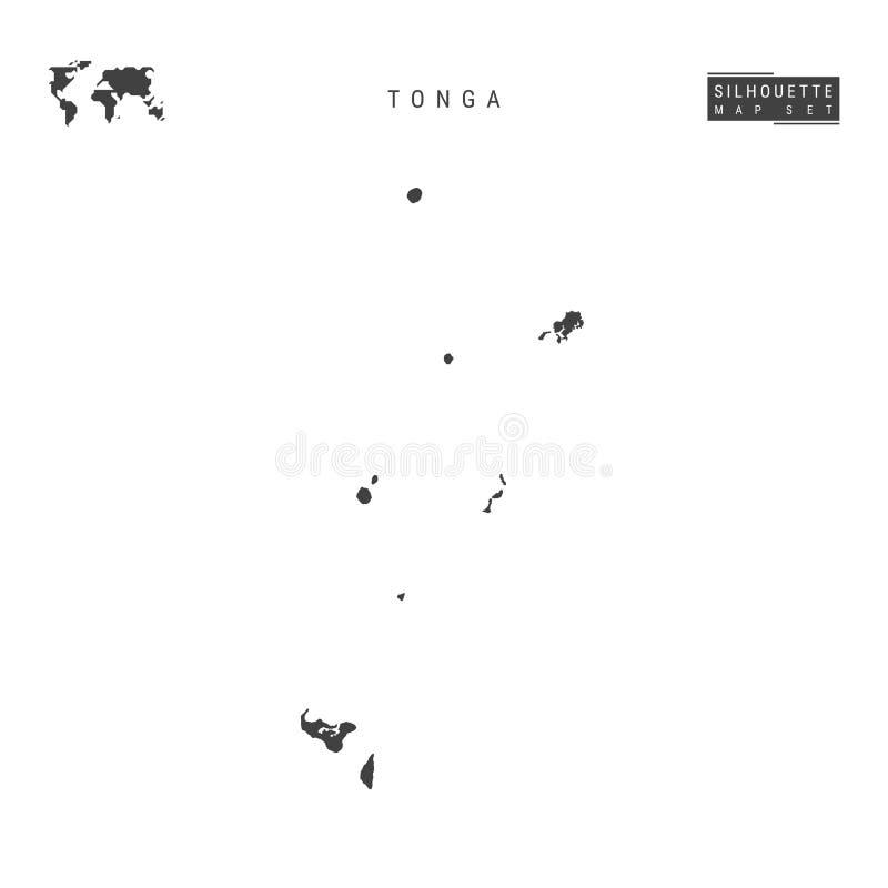 De VectordieKaart van Tonga op Witte Achtergrond wordt geïsoleerd Hoog-High-Detailed Zwarte Silhouetkaart van Tonga vector illustratie