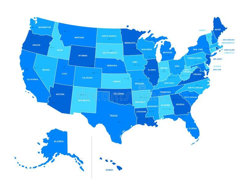De vectordiekaart van de V.S. op witte achtergrond wordt geïsoleerd Verenigde Staten van Am stock illustratie