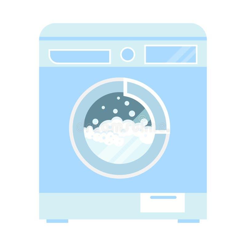 De vectordiemachine van de klerenwasmachine met schuim en bellenillustratie op witte achtergrond wordt geïsoleerd royalty-vrije illustratie