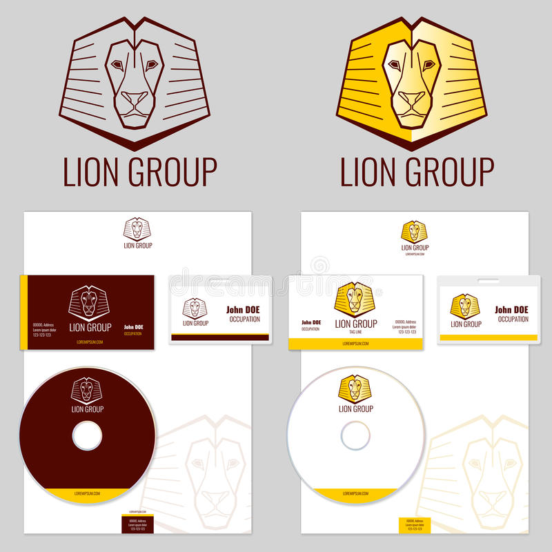 De vectordiemalplaatjes van het leeuwembleem voor uw zaken worden geplaatst royalty-vrije illustratie