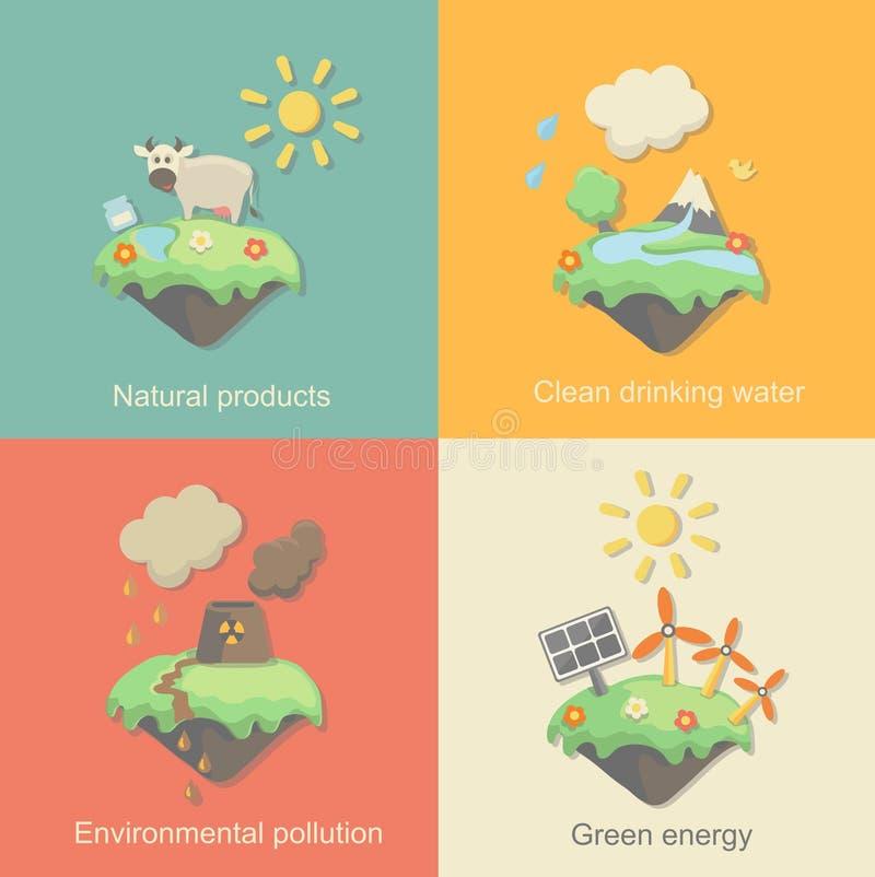 De VectordiePictogrammen van het ecologieconcept voor Milieu worden geplaatst, stock illustratie