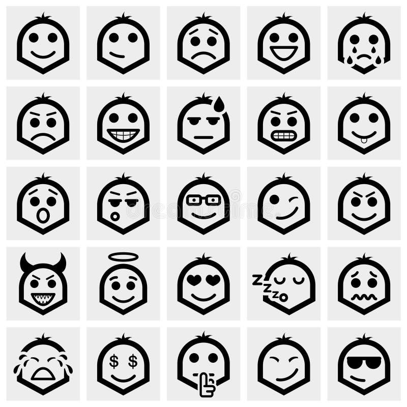 De vectordiepictogrammen van Smileygezichten op grijs worden geplaatst royalty-vrije illustratie