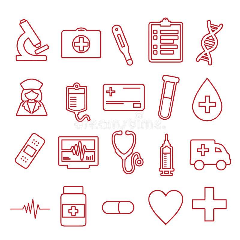 De vectordiepictogrammen voor het creëren van infographics worden geplaatst brachten met geneeskunde en gezondheid, zoals spuit,  royalty-vrije illustratie