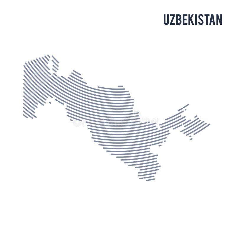 De vectordiesamenvatting broedde kaart van Oezbekistan met krommelijnen op een witte achtergrond worden geïsoleerd uit stock illustratie