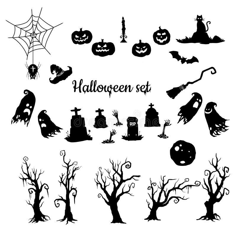 De vectordiesilhouetten van Halloween op witte achtergrond worden geplaatst vector illustratie