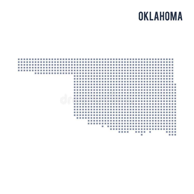 De vectordieStaat van de pixelkaart van Oklahoma op witte achtergrond wordt geïsoleerd stock illustratie