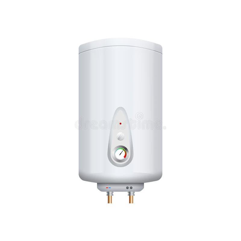 De vectordieverwarmer van de waterboiler op wit wordt geïsoleerd Boilerapparaten Binnenlands kook branderapparaat vector illustratie