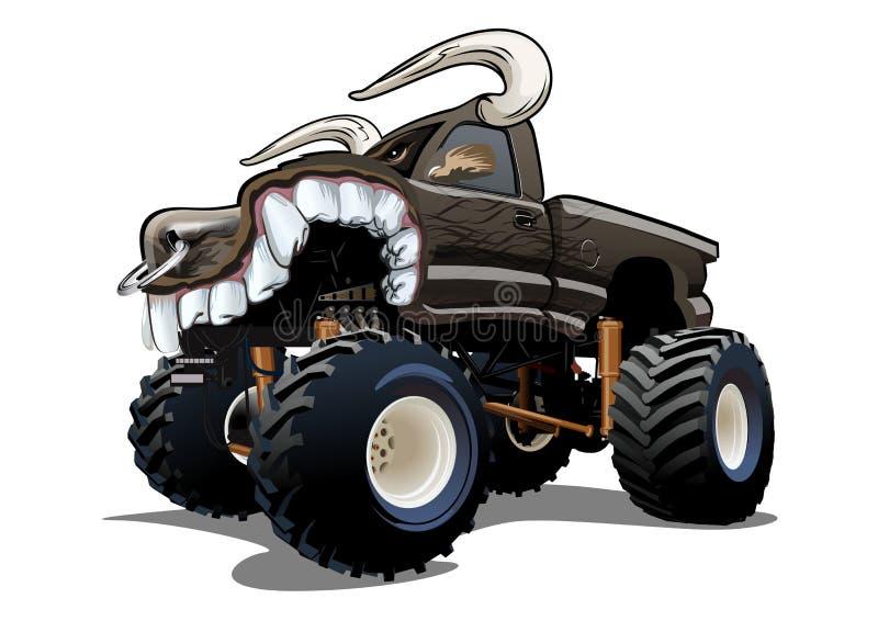 De vectordieVrachtwagen van het Beeldverhaalmonster op witte achtergrond wordt geïsoleerd stock illustratie