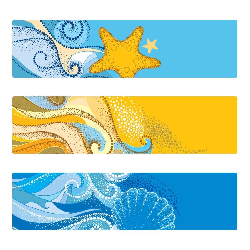 De vectordiezomer met horizontale banner in dotworkstijl wordt geplaatst Samenvatting gestippelde golven, zeeschelp, zeester, kie stock illustratie