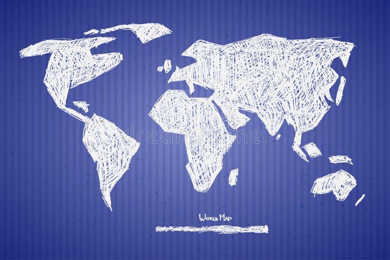 De vectordocument Illustratie van de Wereldkaart vector illustratie