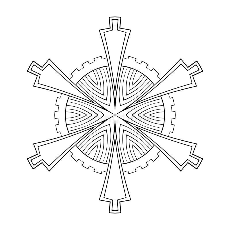 De vectordocument vlok van de knipselsneeuw in zentangle geometrische stijl, doo royalty-vrije illustratie