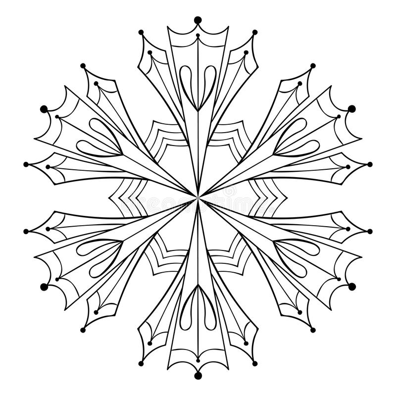 De vectordocument vlok van de knipselsneeuw in zentanglestijl, krabbelzwarte royalty-vrije illustratie