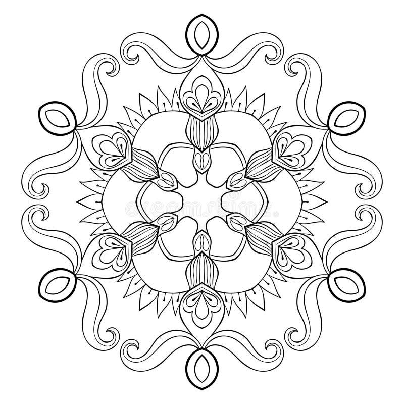 De vectordocument vlok van de knipselsneeuw in zentanglestijl, mandala voor a stock illustratie