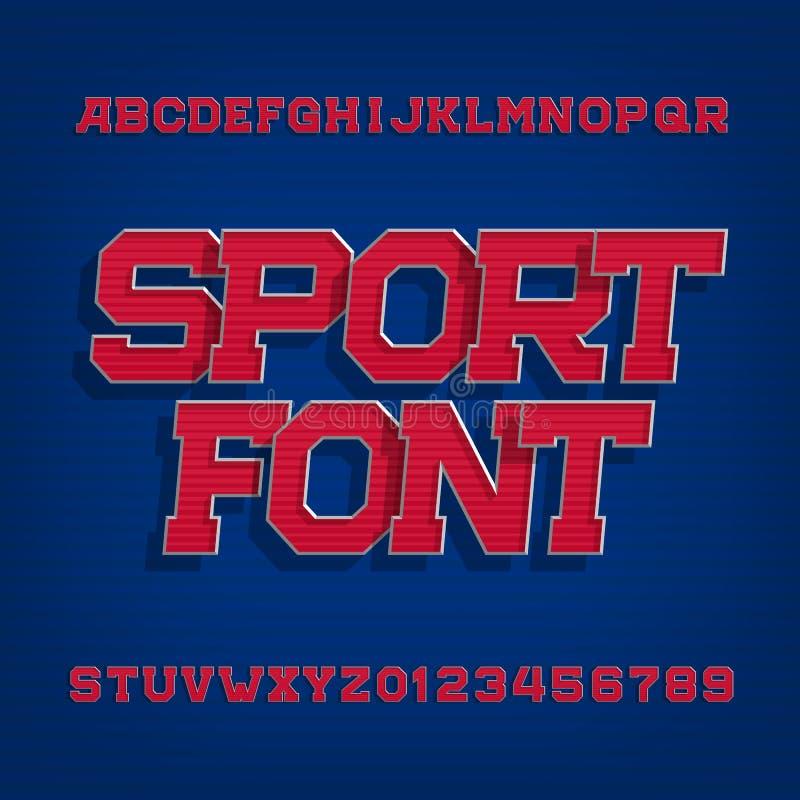 De vectordoopvont van het sportalfabet Retro stijllettersoort voor etiketten, titels, affiches of sportkleding stock illustratie