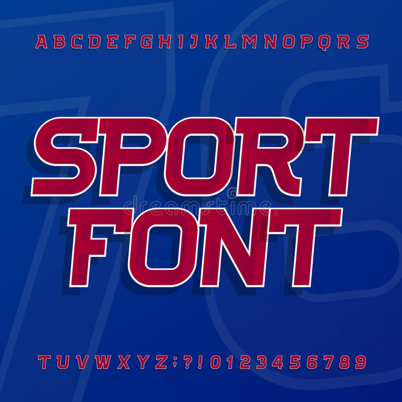 De vectordoopvont van het sportalfabet Schuine lettersoort voor etiketten, titels, affiches of sportkleding royalty-vrije illustratie