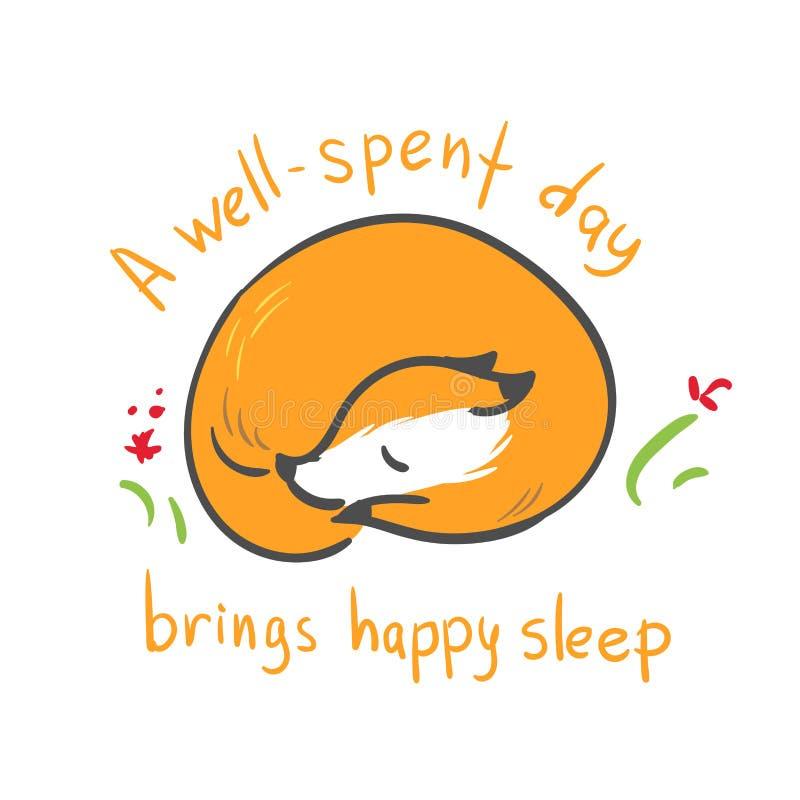 De vectordruk van de de baby gelukkige slaap van de karaktervos royalty-vrije illustratie