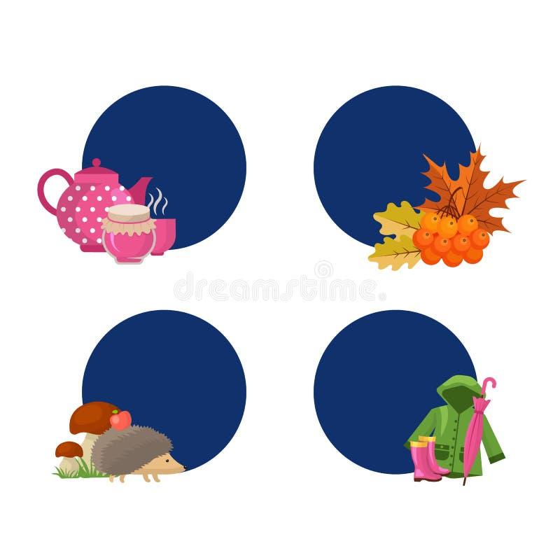 De vectorelementen van de beeldverhaalherfst en bladerenstickers met plaats voor tekst vastgestelde illustratie royalty-vrije illustratie