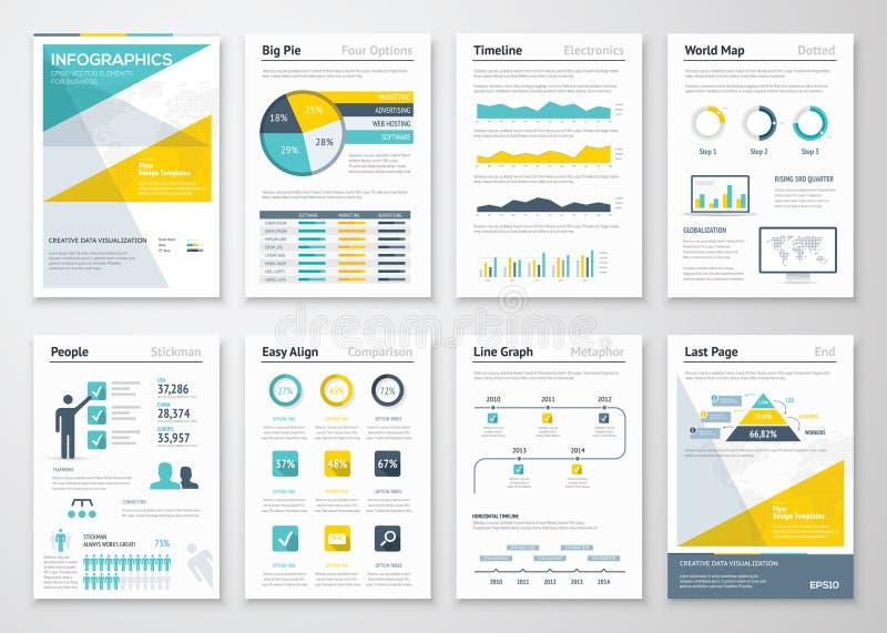 De vectorelementen van de bedrijfsinformatiegrafiek voor collectieve brochures stock illustratie