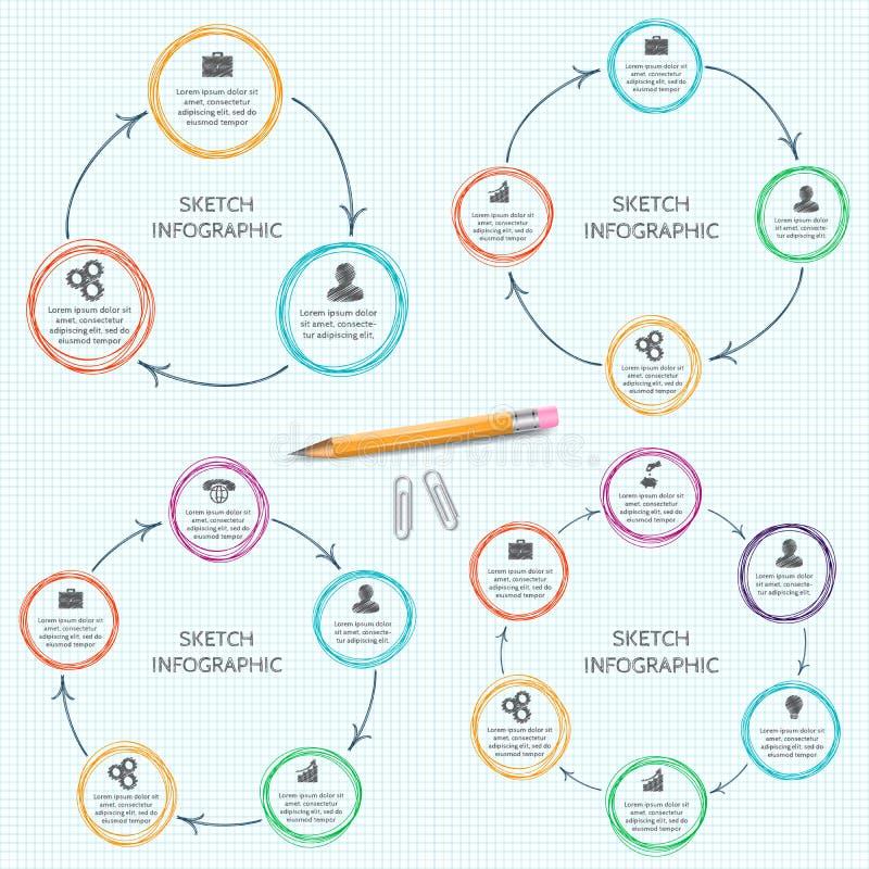 De vectorelementen van de krabbelcirkel voor infographic vector illustratie