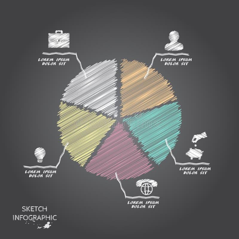 De vectorelementen van de krabbelschets voor infographic stock illustratie