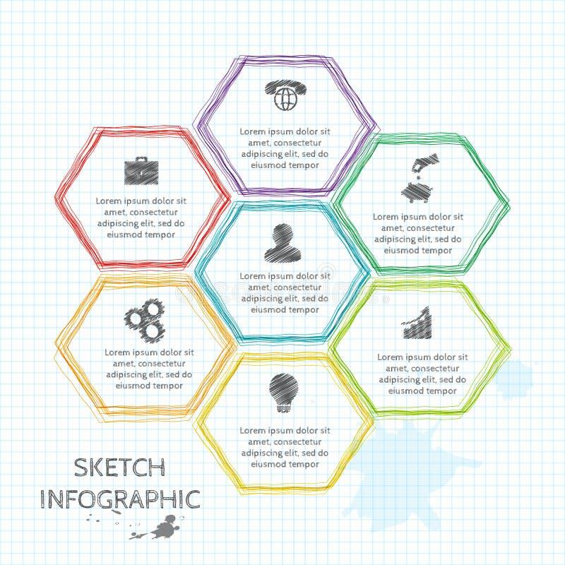 De vectorelementen van de krabbelschets voor infographic vector illustratie