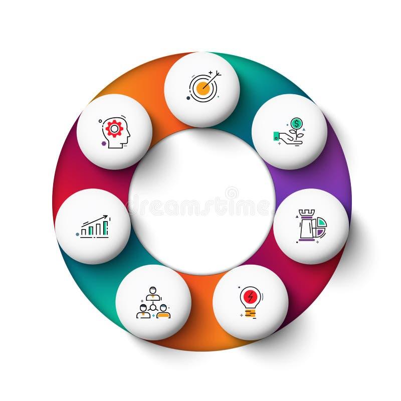 De vectorelementen van de gradeintecirkel voor infographic Bedrijfsconcept met 7 opties, delen, stappen of processen royalty-vrije illustratie