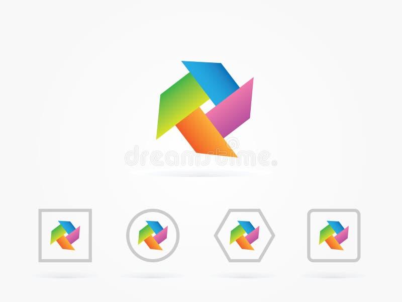 De vectorelementen van het Illustratievuurrad met regenboogkleuren stock illustratie