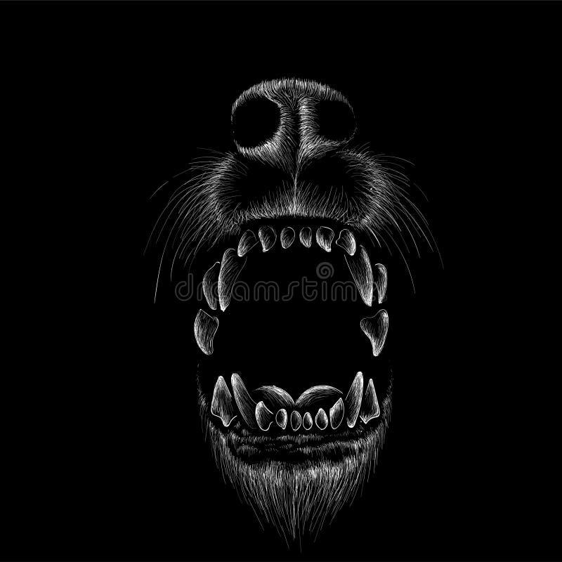 De Vectorembleemhond voor T-shirtontwerp of outwear De achtergrond van de de jachtstijl vector illustratie