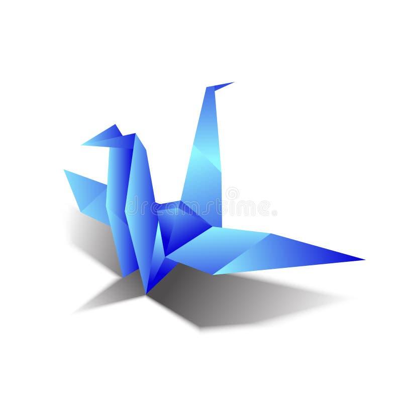 De vectoren van de origamivogel blauwe hemel als achtergrond vector illustratie