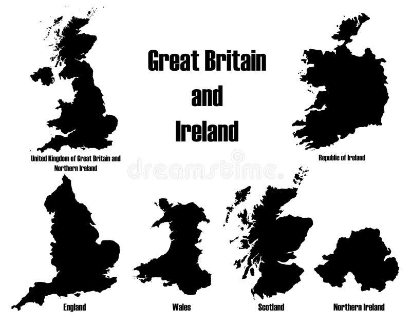 De vectoren van Groot-Brittannië + van Ierland vector illustratie