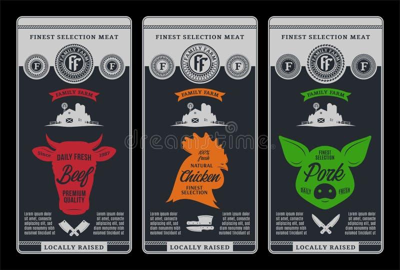 De vectoretiketten van het slagerijontwerp royalty-vrije illustratie